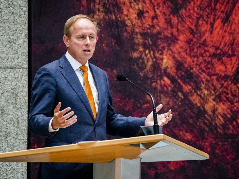 Kees van der Staaij tijdens een debat in de Tweede Kamer over de aanpak van de coronacrisis. Beeld ANP