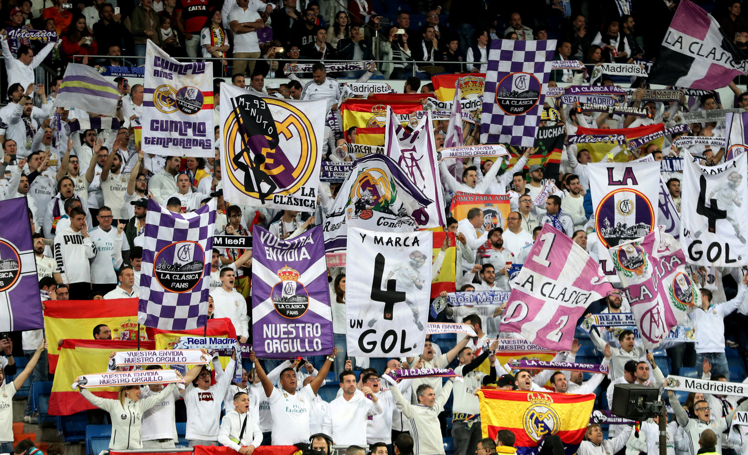 Fans van Real Madrid tijdens de wedstrijd tegen FC Barcelona eerder dit jaar.