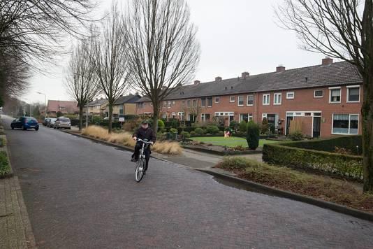 De Pastoor Deperinkweg in Mariënvelde. Rechts de rij van acht woningen, bijgenaamd de Acht Zaligheden.