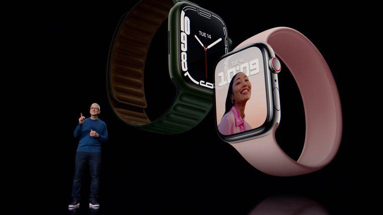 Tim Cook presenteert de Apple Watch 7 Beeld Apple