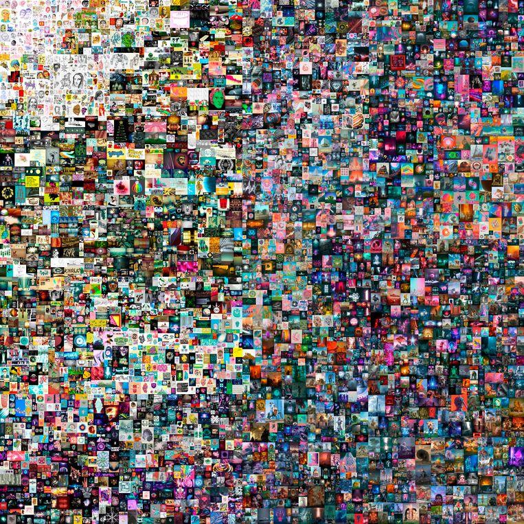 Beeple's collage van vijfduizend digitale afbeeldingen 'Everydays: The First 5000 Days' ging voor bijna 70 miljoen dollar naar de in Singapore wonende investeerder 'Metakovan'. Beeld AP