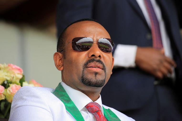 De Ethiopische premier Abiy Ahmed tijdens een campagne evenement.  Beeld REUTERS