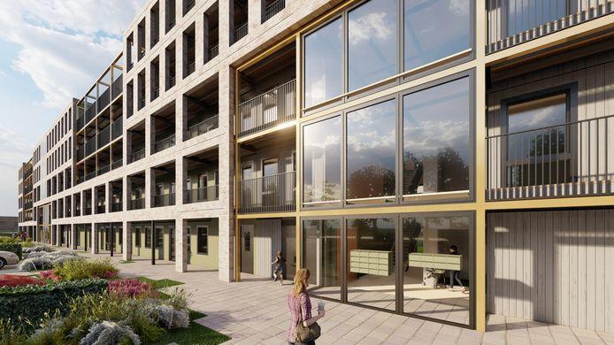 Impressie van de houten woongebouwen zoals die voor het complex in Alkmaar door De Groot in Vroomshoop worden voorbereid.