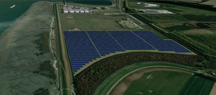 Impressie zonnepark op bedrijventerrein Mosselbanken ten westen van chemieconcern Dow in Terneuzen.