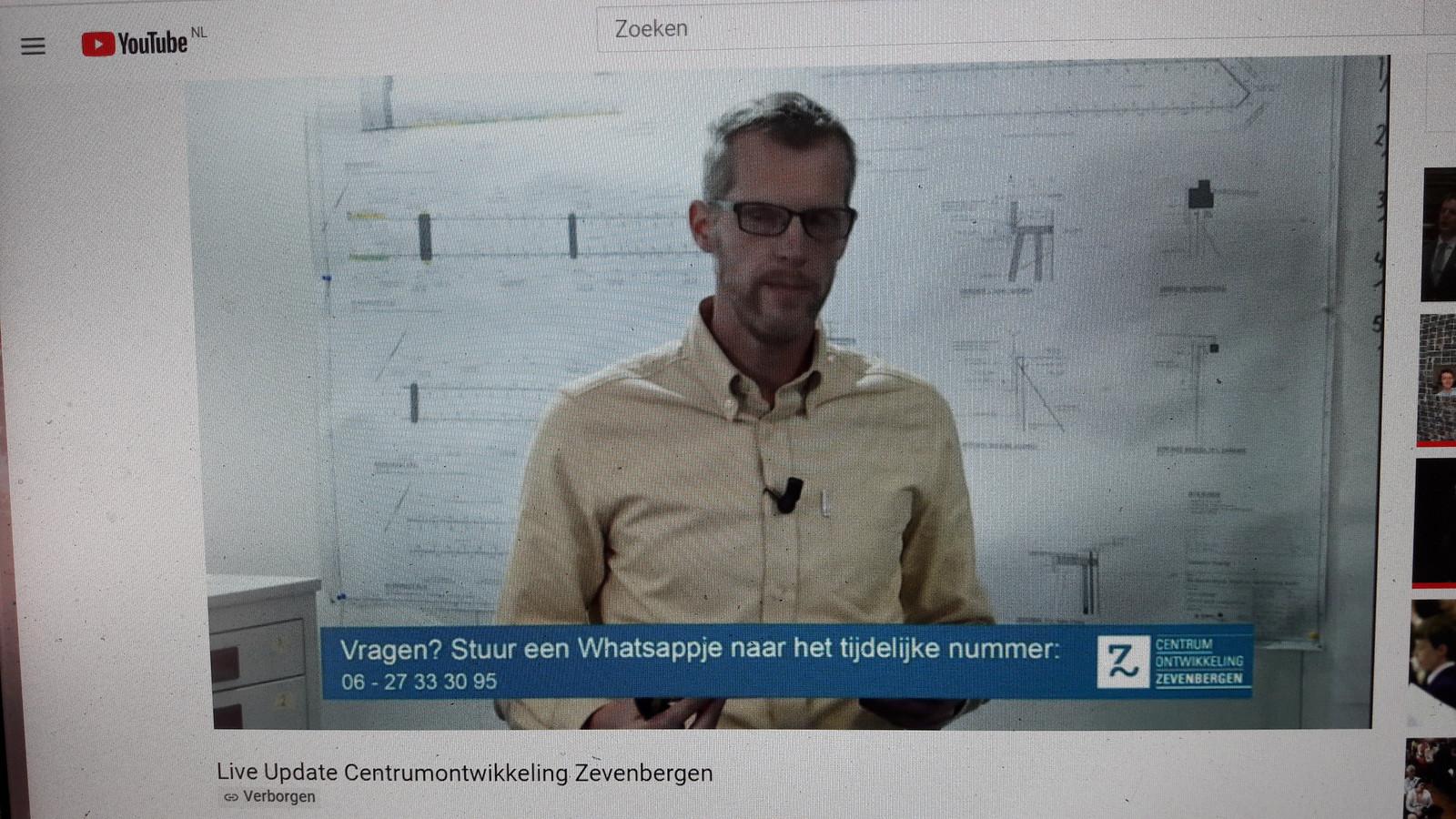 Arjan Kaashoek (medewerker van een extern communicatiebureau) presenteert de Youtube bijpraat sessie over de Zevenbergse haven.