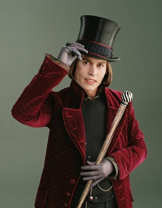 Johnny Depp als Willy Wonka.