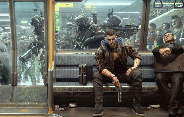 Een keertje rustig met metro reizen is er ook niet bij in Cyberpunk 2077.. Beeld CD Project