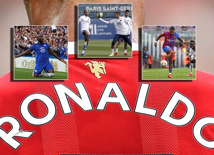De rug van Ronaldo. Inzetjes: Romelu Lukau, de drie van PSG en Memphis.