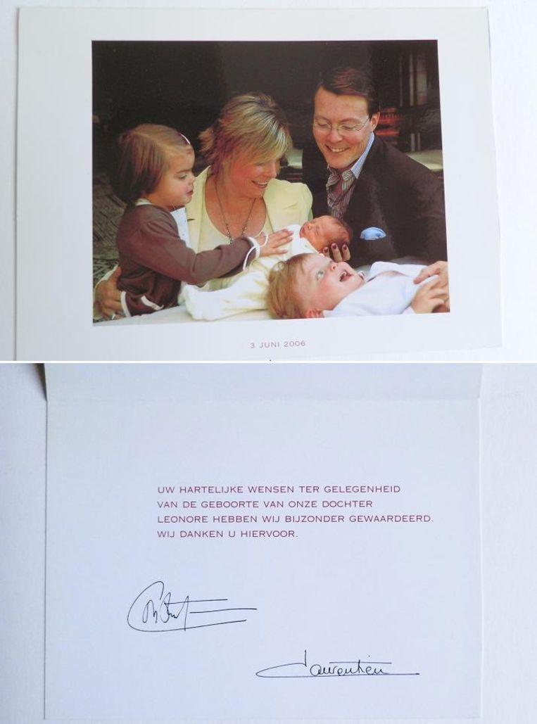 Bedankkaartje na de geboorte van Leonore van prins Constantijn en prinses Laurentien in 2006. Beeld Willemijn Vendrig