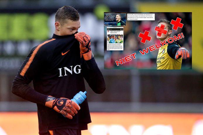 Kjell Scherpen bij Oranje onder 19. Inzet: de doelman is voor sommige Ajax-fans niet welkom.