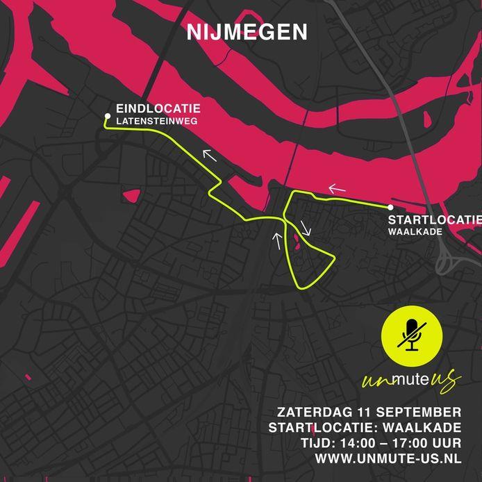 De protestroute in Nijmegen.