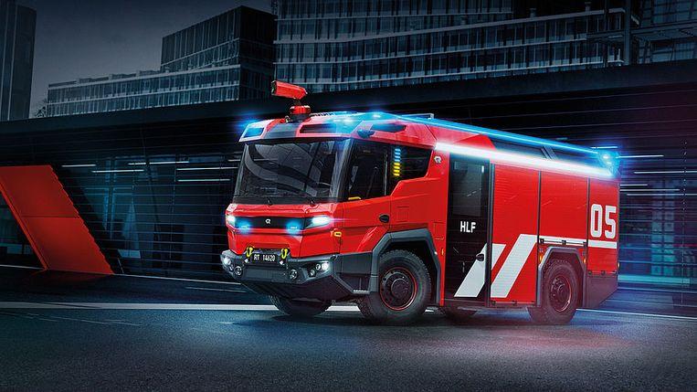 Het ontwerp van een elektrische brandweerauto van de Oostenrijkse firma Rosenbauer.  Beeld