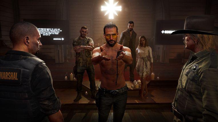 Looft de heer in de beginsequentie van 'Far Cry 5', de eerste ware blockbustergame van dit jaar. Beeld Ubisoft