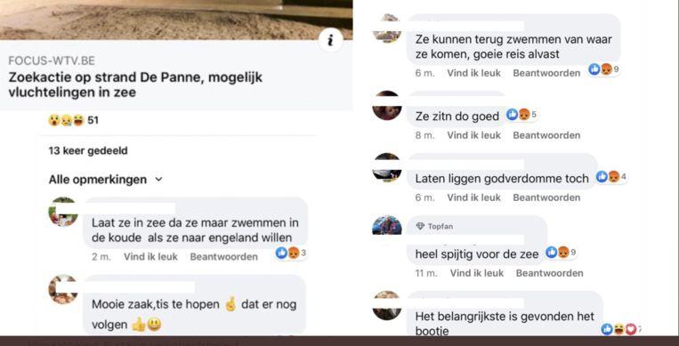 Een kleine greep uit de racistische commentaren op de zoekactie naar vluchtelingen in De Panne, nadat hun bootje kapseisde. Beeld RV