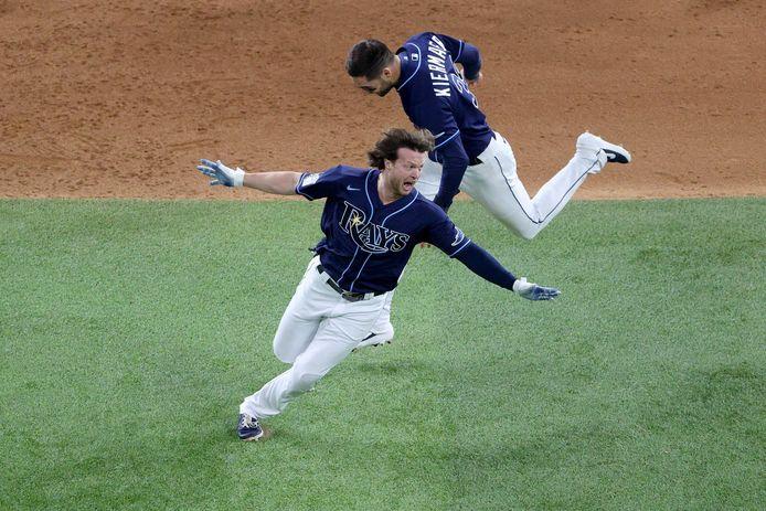 Een dolblije Brett Phillips van Tampa Bay Rays