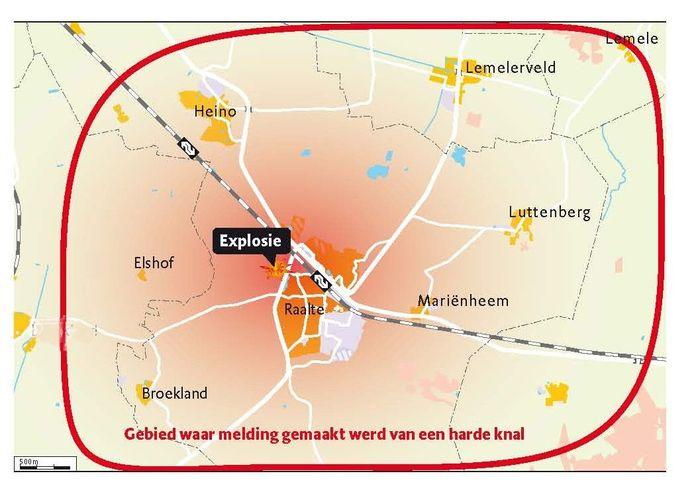 Kaart van het gebied waar de knal werd gehoord. c-2012 de Stentor