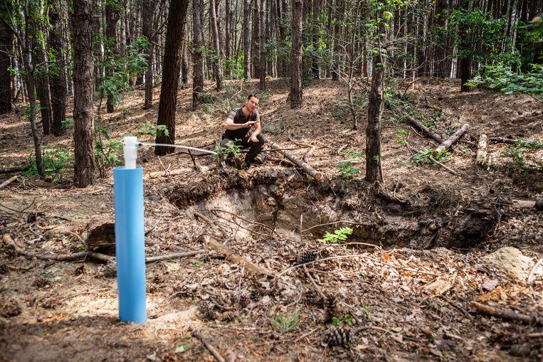 In natuurgebied de Brabantse Wal vond boswachter Erik de Jonge onlangs een enorme drugsput waar drugsafval in is gedumpt.  Beeld Roos Pierson