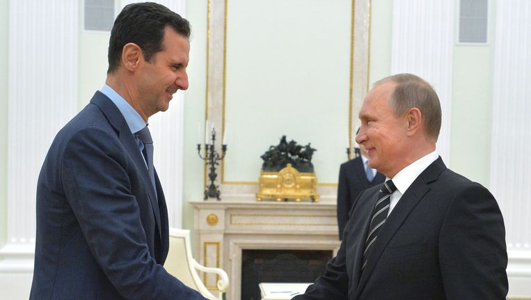 President Bashar al-Assad en president Vladimir Poetin Beeld AP