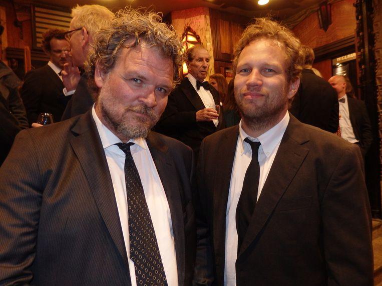 Acteur Yorick van Wageningen: 'Een meesterwerk. Woody Allen op lsd.' Naast hem producent en beste vriend Robert Post. Beeld Schuim
