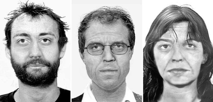 Compositiefoto's met verouderingssimulatie van (vlnrL) Burkhard Garweg, Ernst-Volker Staub en Daniela Klette.