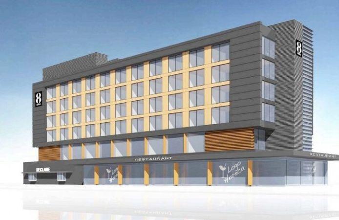 Een artist impression van het GR8-hotel dat op het knooppunt Princeville in Breda moet verrijzen.