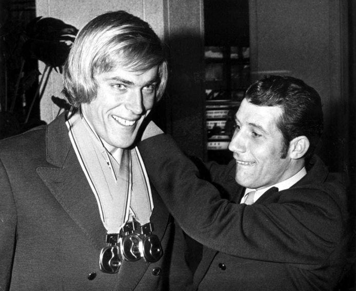 Ard Schenk (L) en Kees Verkerk (R) tijdens de Winterspelen van 1972