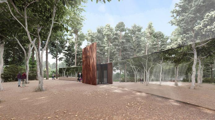 Een impressie van het bezoekerscentrum dat moet komen bij de erevelden aan de Ruytershoveweg.
