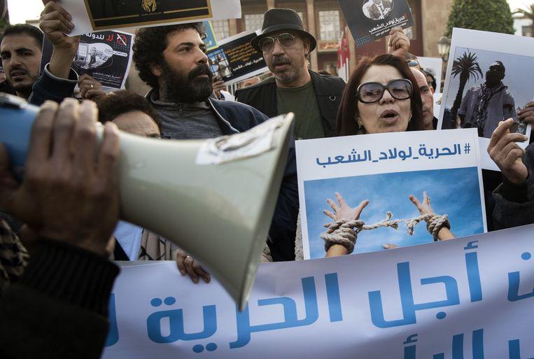 Mensenrechtenactivisten gingen begin januari de straat op in Rabat. Beeld AFP
