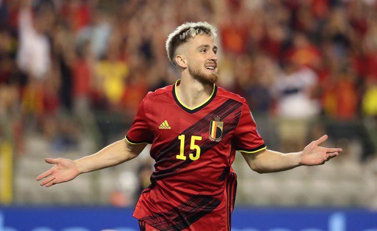 Alexis Saelemaekers na het scoren van de 3-0 tegen Tsjechië Beeld Getty Images