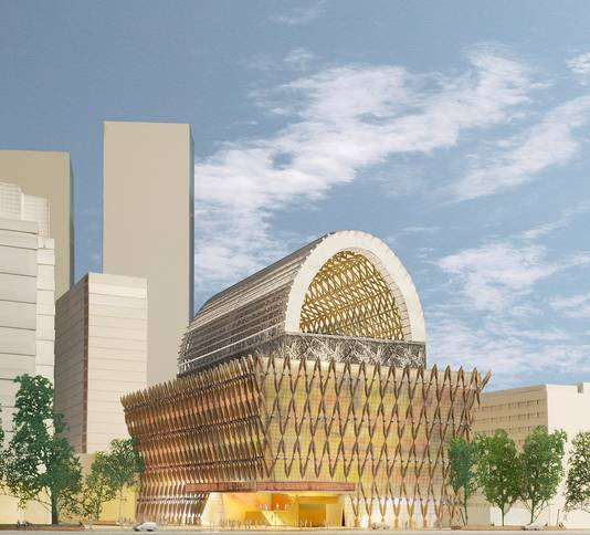 De vorige gemeenteraad koos met een nipte meerderheid voor dit 'Spuiforum'-ontwerp van architectenbureau Neutelings Riedijk. Het nieuwe (huidige) college besloot echter om het anders te gaan doen.