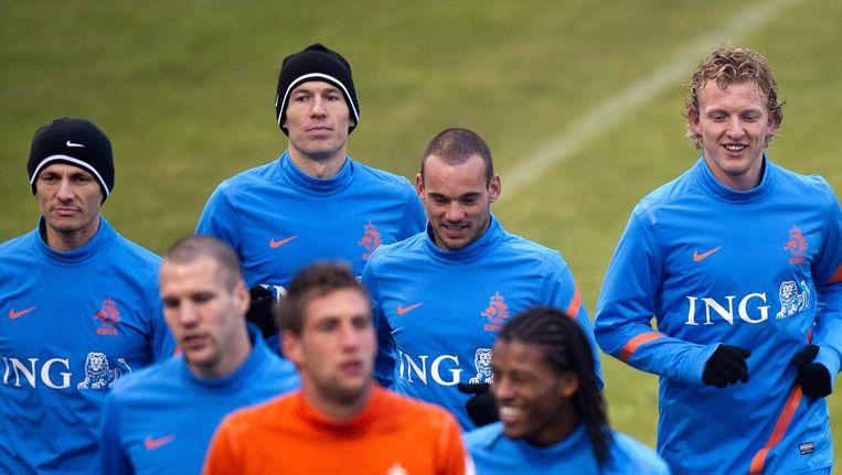 Oranje bereidt zich voor op de oefeninterland tegen Engeland, februari 2012. Beeld ANP
