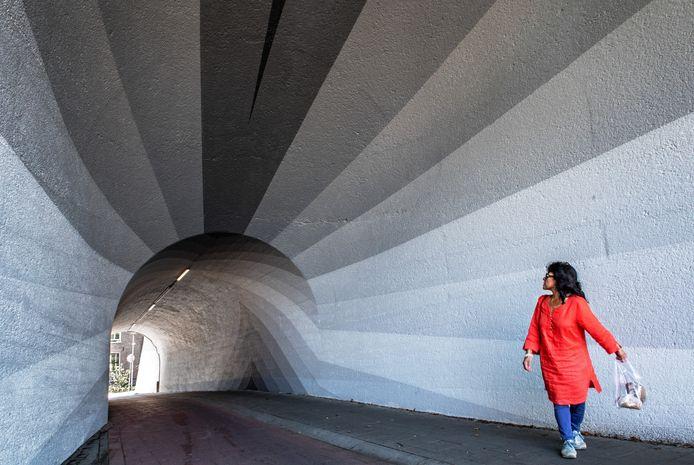 De fietstunnel van de Hezelpoort is door Linda Arts beschilderd.