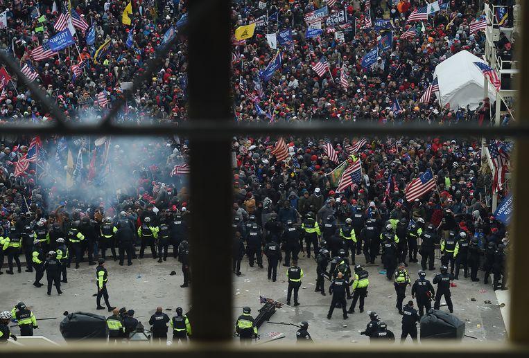 De demonstratie wordt gehouden naar aanleiding van de bestorming van het Capitool in Washington. Beeld Hollandse Hoogte / AFP