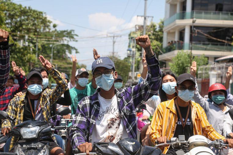 Demonstranten in Myanmar. Beeld EPA
