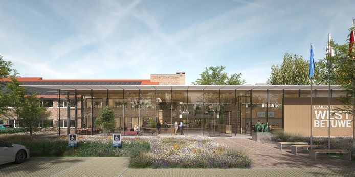 De entree van het vernieuwde gemeentehuis van West Betuwe in Geldermalsen