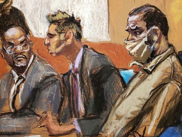 Een schets van R. Kelly en zijn advocaten Deveraux Cannick en Thomas Farinella gedurende een hoorzitting op 3 augustus 2021.