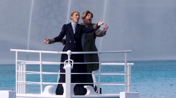 """Céline Dion a rejoué la célèbre scène de """"Titanic"""" avec l'animateur James Corden pour son """"Carpool Karaoke""""."""
