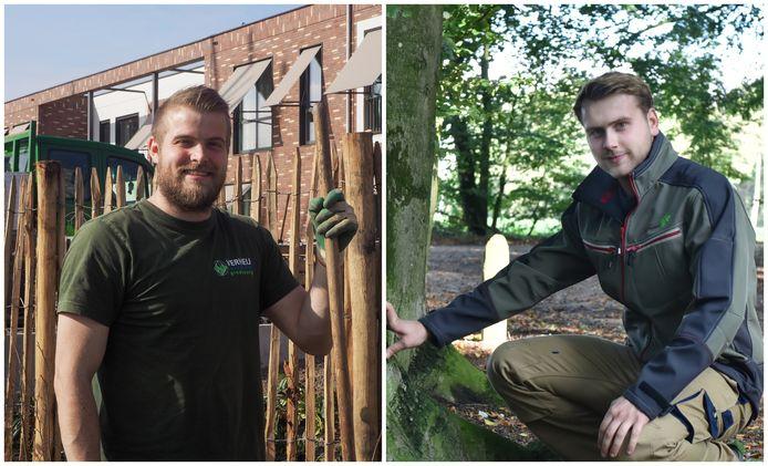 Hovenier Remco Leonhart en boomtechnisch adviseur Youri van Woerkom werken allebei in de buitenlucht met groen.