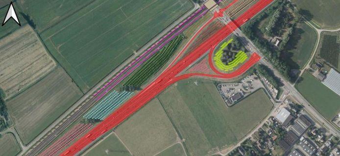 Een deel van een uitgewerkte scenario van de WUR voor de boomgaard langs de A15. Langs de snelweg komen straks veel fruitbomen.