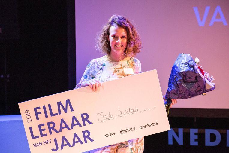 Filmdocent Malu Sanders van Het 4e Gymnasium in Amsterdam. Beeld NFF Professionals Programma