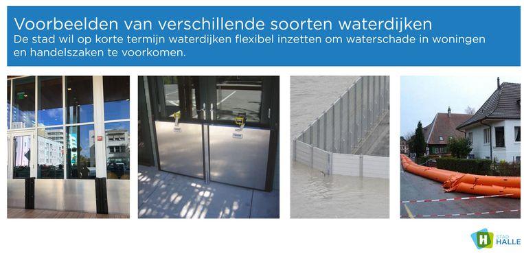 Enkele voorbeelden van flexibele waterdijken die Halle wil gebruiken in de strijd tegen wateroverlast.