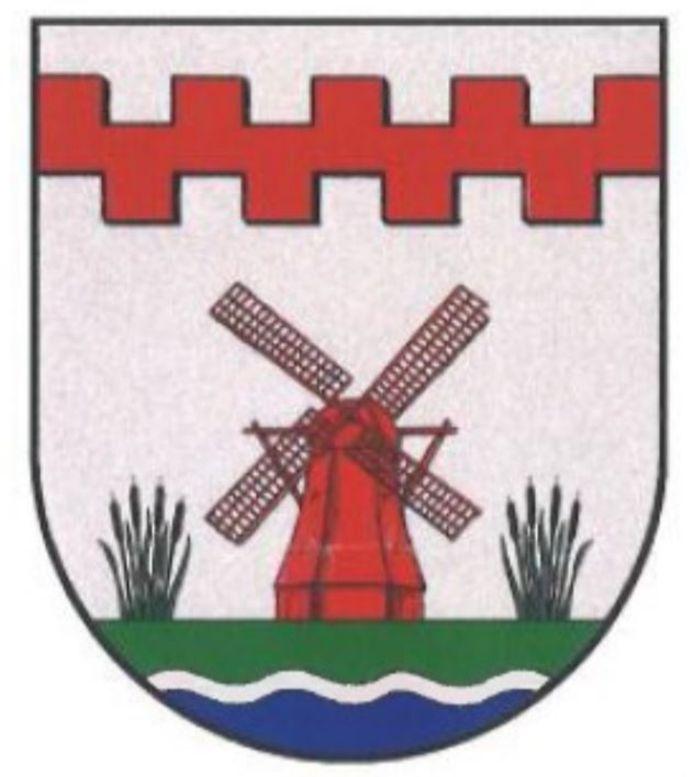 Het nieuwe gemeentewapen van de gemeente Molenlanden, mét de kleur blauw die bij een eerder ontwerp ontbrak.