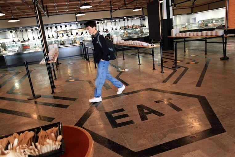 De cafeteria van Facebook.<br /> Beeld reuters