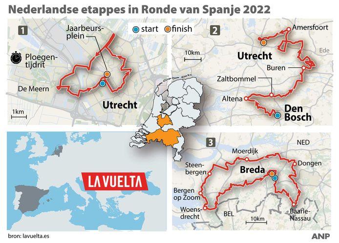Nederlandse etappes in Ronde van Spanje 2022.