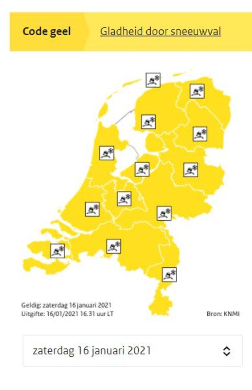 Het KNMI waarschuwt voor gladheid met code geel.