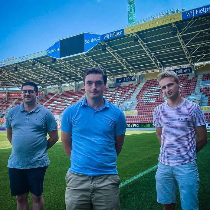 De oprichters van SC Dames Essevee: Maxim Himpe, Nick Devos en Arne Verbauwhede.