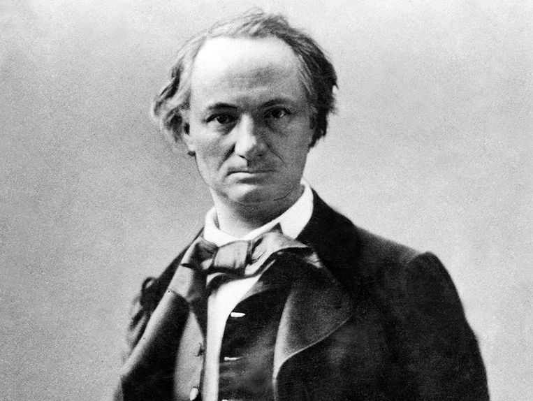 Portret van Baudelaire door de Franse fotograaf Nadar, 1858. Het hoofd van de dichter lijkt te 'barsten van de verontrustende ideeën'.  Beeld rv
