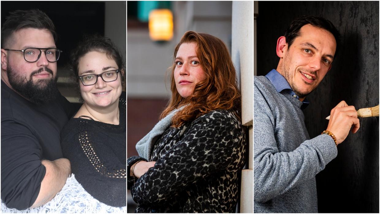 Byron Caron (28) en Samantha Battistini (27) uit Houthalen, Marjolein Sennes (31) uit Antwerpen en Bart Armirotto (39) uit Schoten. Beeld Photonews