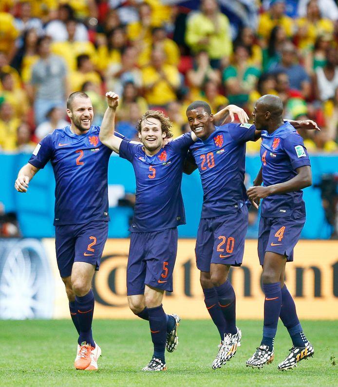 Daley Blind viert zijn goal tegen Brazilië in 2014.