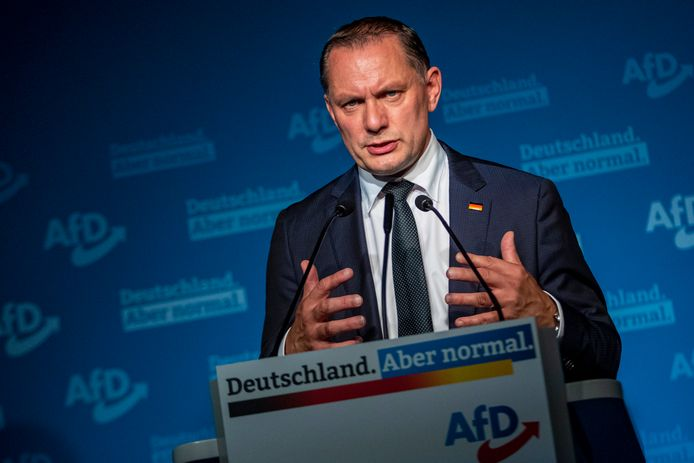 Alternatif untuk pemimpin Jerman Tino Shrupala.  Menurut perkiraan, AfD akan memenangkan antara 10 dan 11 persen suara di tingkat nasional.
